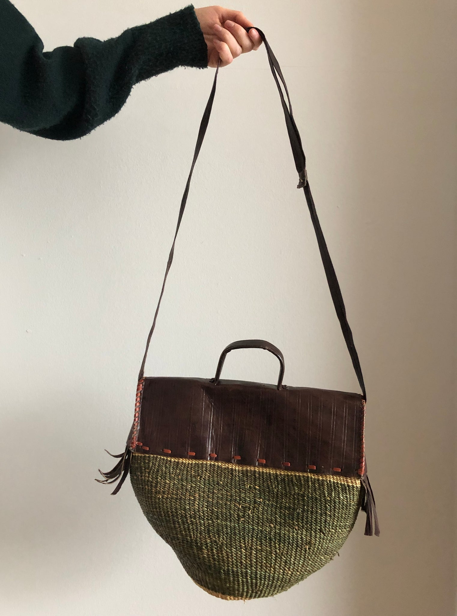 SISAL PURSE mossy green