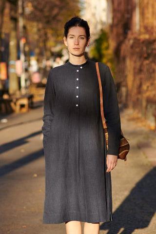 MANDRA DRESS  anthrazit blue washed linen