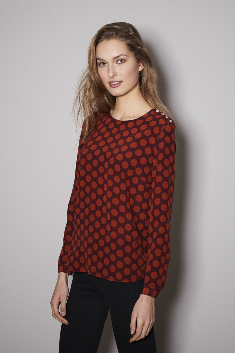 HALF MOON BLOUSE red dots