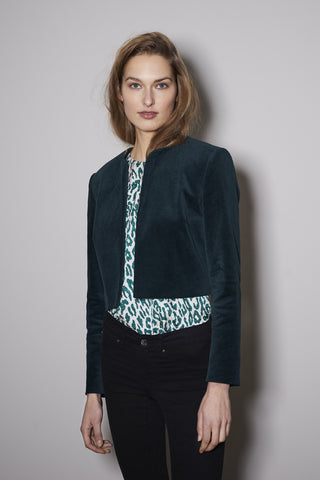 TWO EYE JACKET dark green velvet