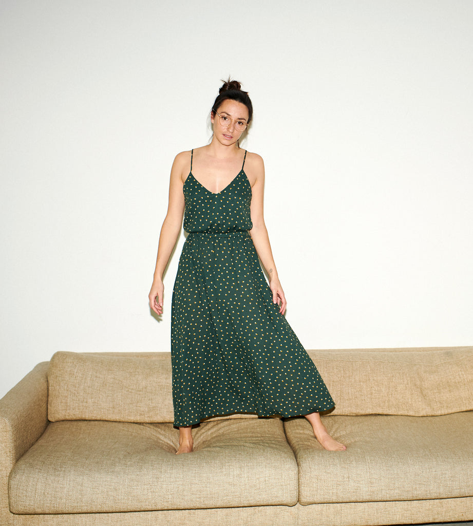 FERÁ SUMMER DRESS tripple dots green