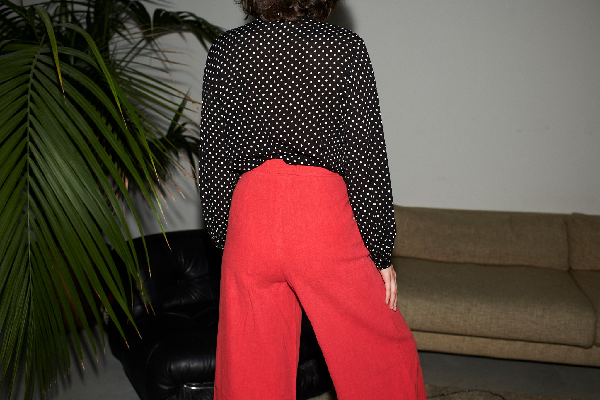 PAN LINEN PANTS red washed linen