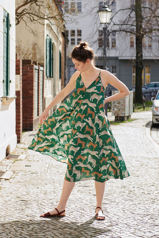 SIMPLE SAVANNA DRESS green cheetah