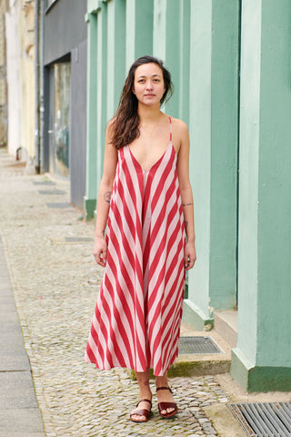 SIMPLE SAVANNA DRESS red stripes