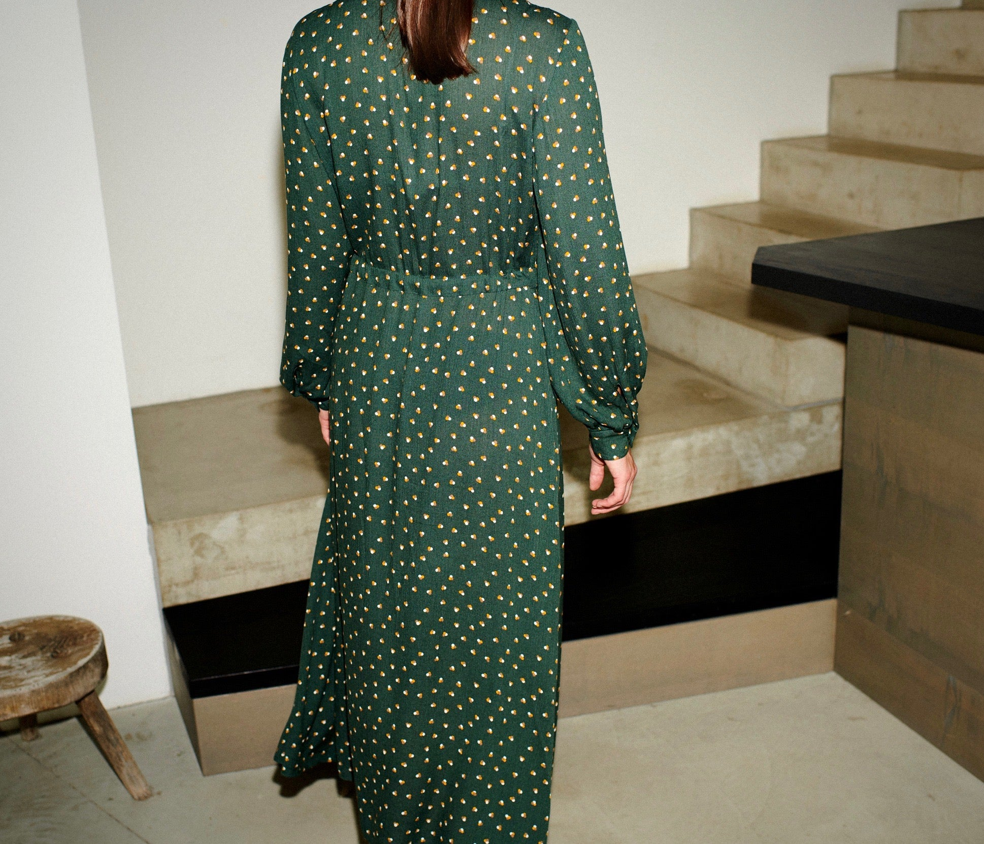 SWAN DRESS tripple dots green