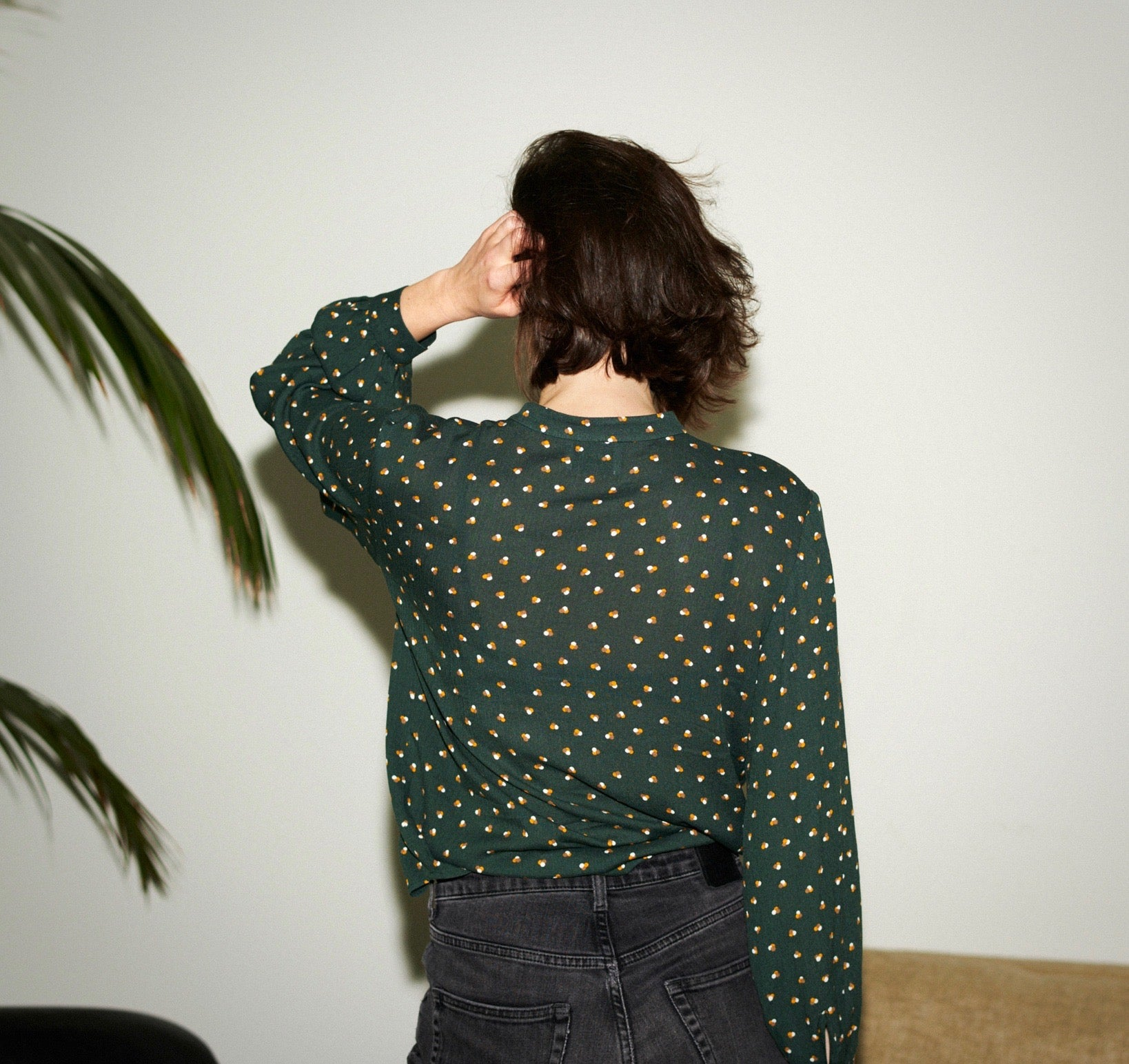 SWAN BLOUSE tripple dots green