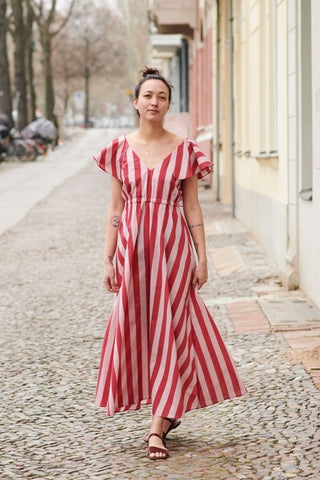 TUSKANA DRESS red stripes