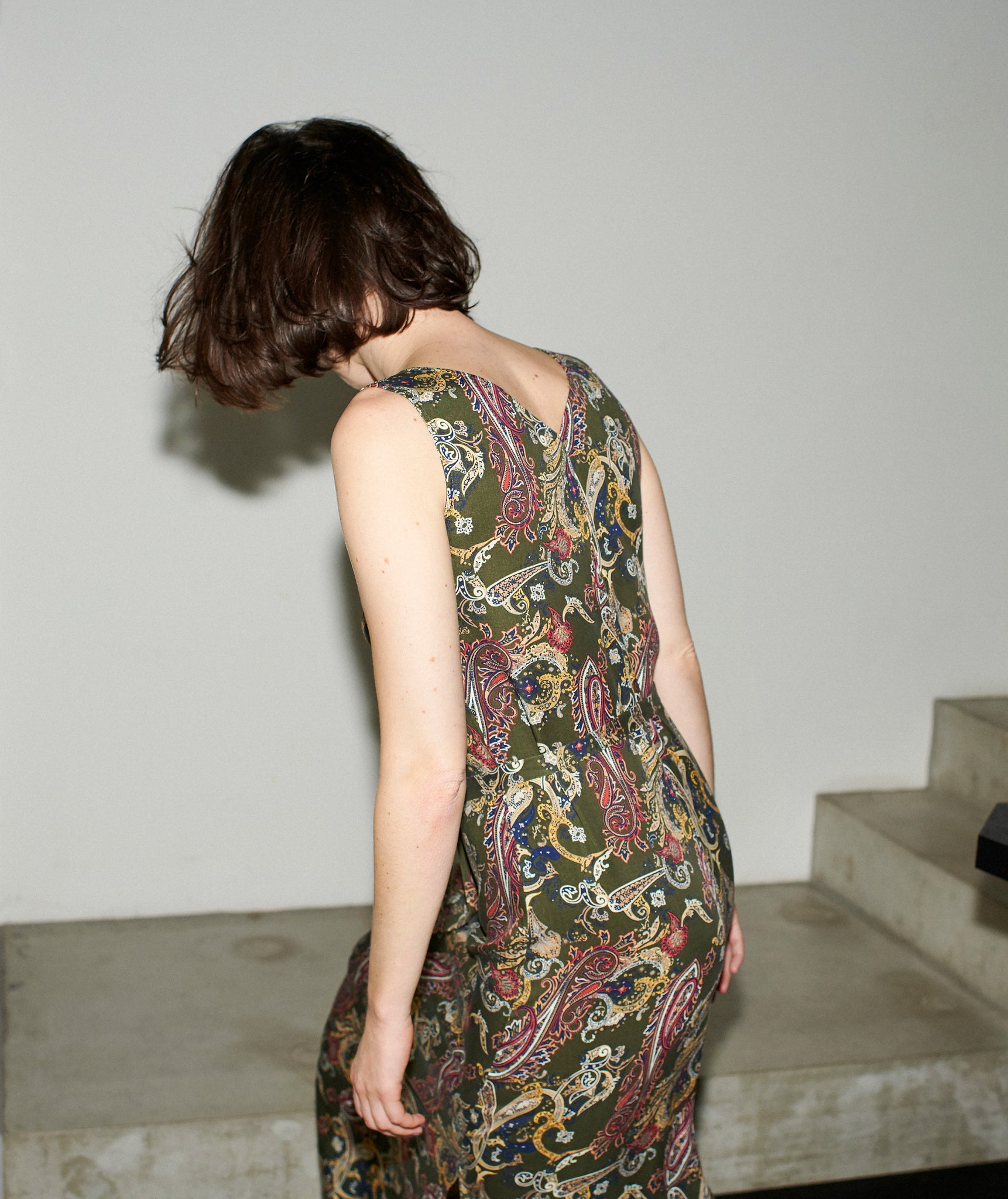 V-SUMMER DRESS khaki paisley