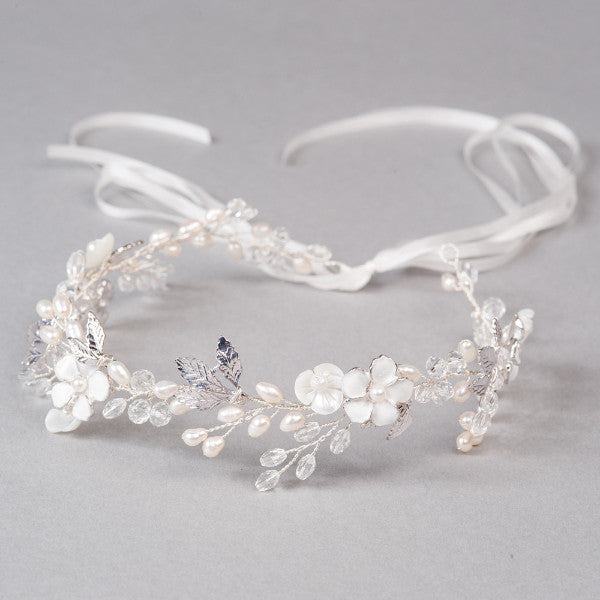 Silver hair vine with pearls - Shop No.2
