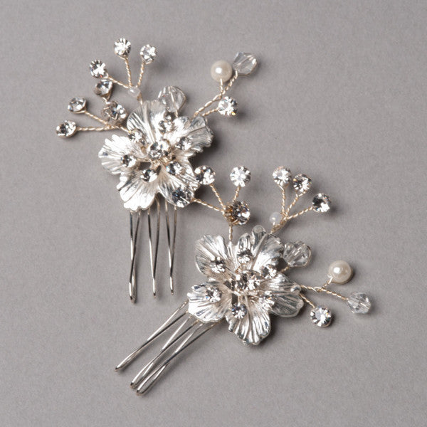 Silver Cherry Blossom Hairpins - Shop No.2