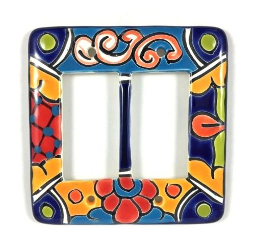 Ceramic Talavera Double Rocker Switch Plate Covers - NM Chile & Import Co