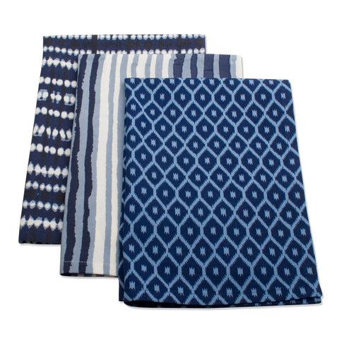 Indigo Artisan Cotton Dishtowel, Set of 3
