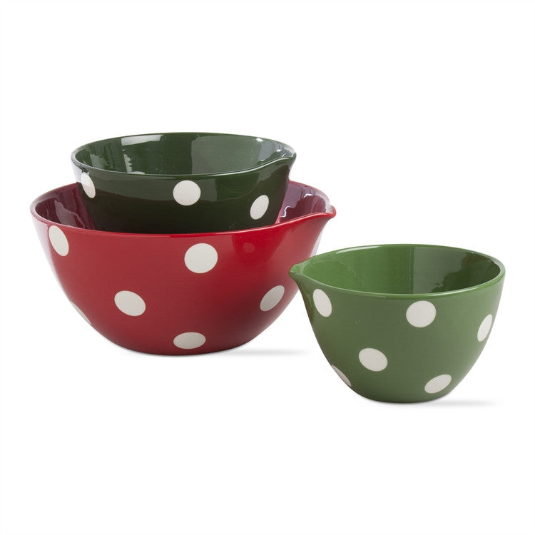 Polka Dot Mixing Bowls, Set of 3