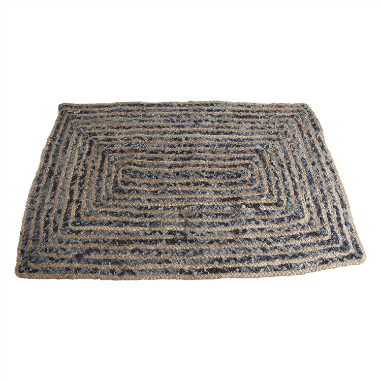 Handwoven Denim Hemp Rug
