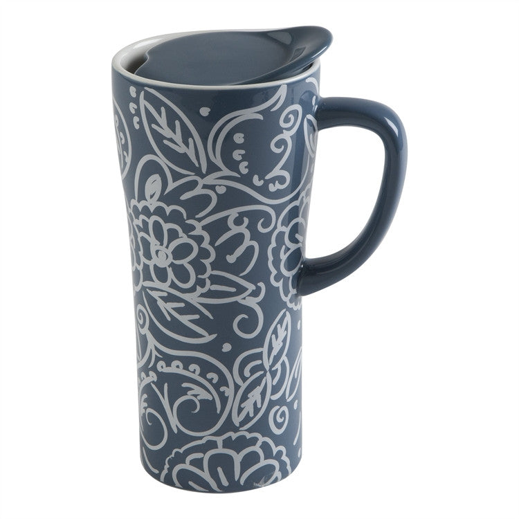 Block Print Travel Mug With Handle