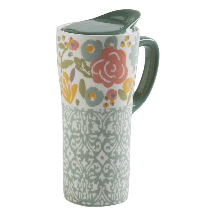 Floral Travel Mug With Handle