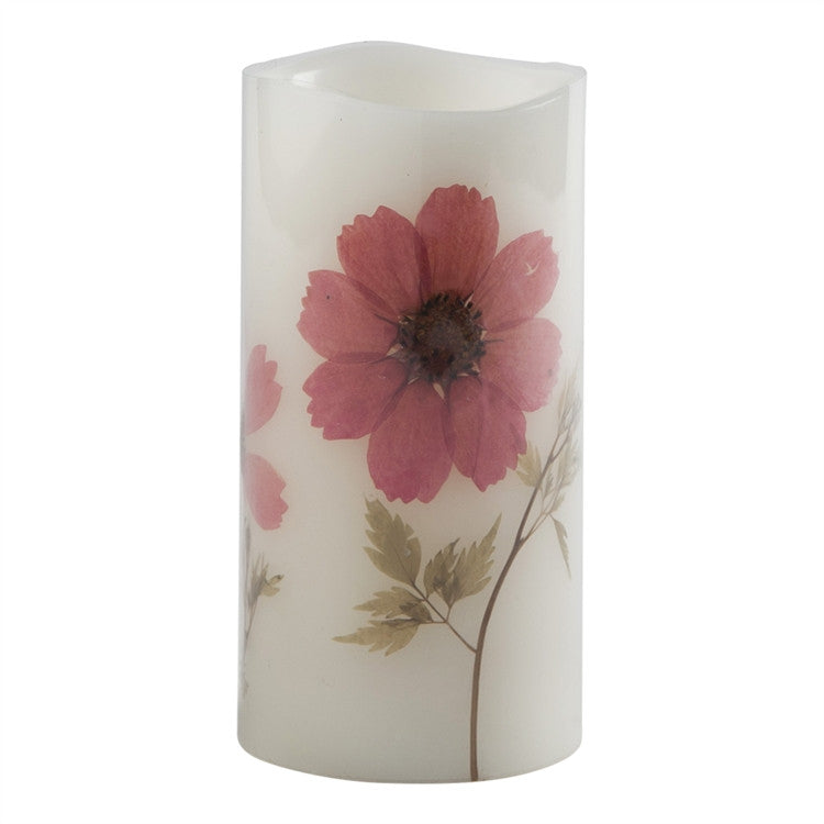 Aster Wildflower Flameless LED Pillar Candle
