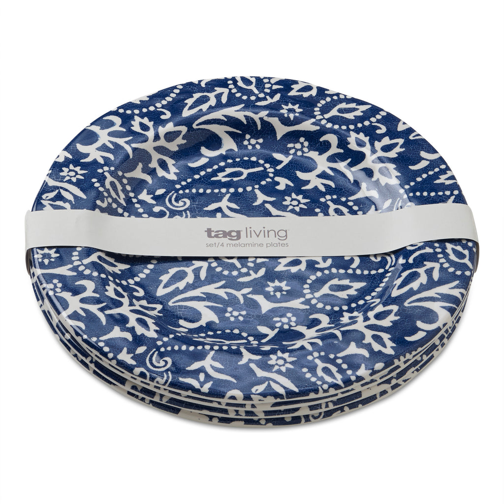 Blue Artisan Melamine Dinner Plates, Set of 4