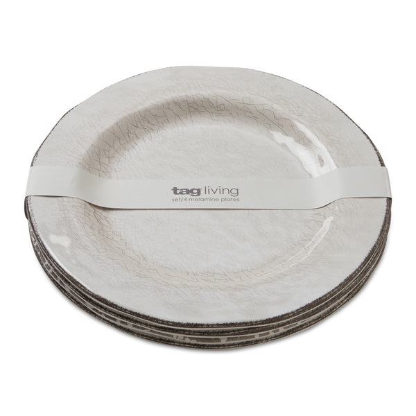 Ivory Veranda Melamine Dinner Plates, Set of 4