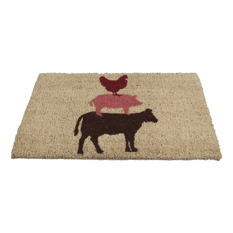 Stacked Farm Animal Coir Mat