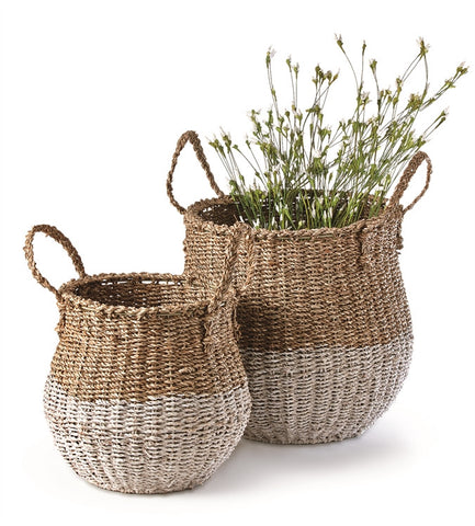 Two Tone Seagrass Floor Baskets, Set of 2