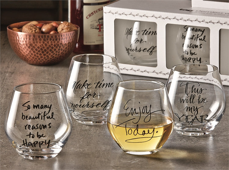 Sentiment Stemless Wine Glasses, Set of 4