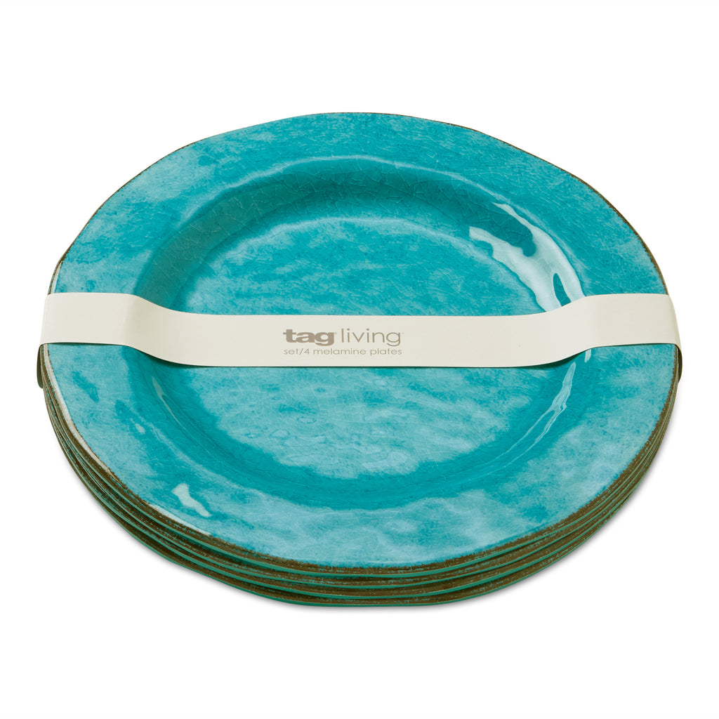 Blue Veranda Melamine Dinner Plates, Set of 4