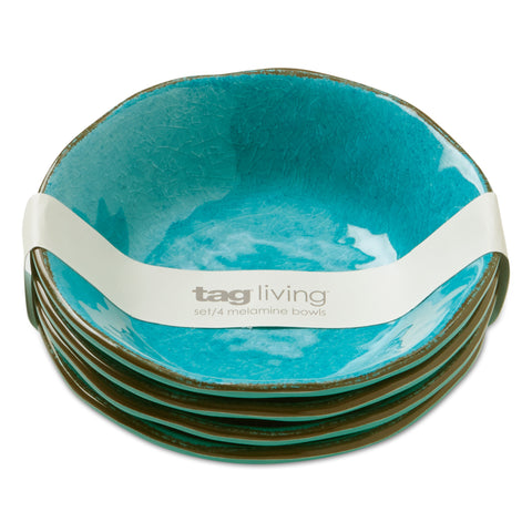 Blue Veranda Melamine Bowls, Set of 4