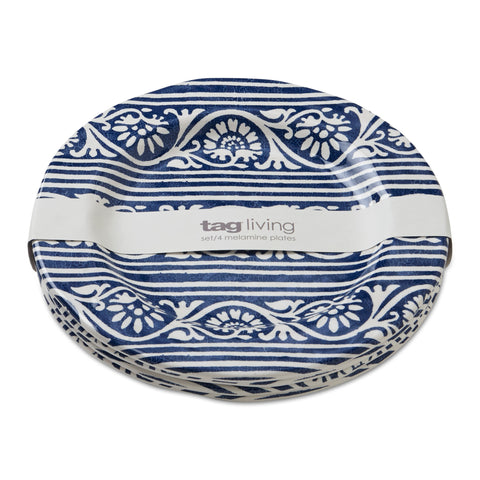 Blue Artisan Melamine Salad Plates, Set of 4