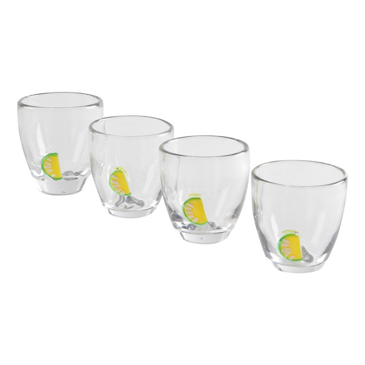 Lime Accented Shot Glasses, Set of 4