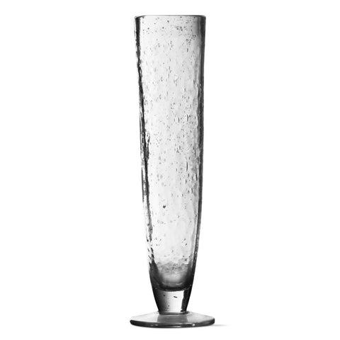 Clear Bubble Glass Tall Flutes, Set of 6