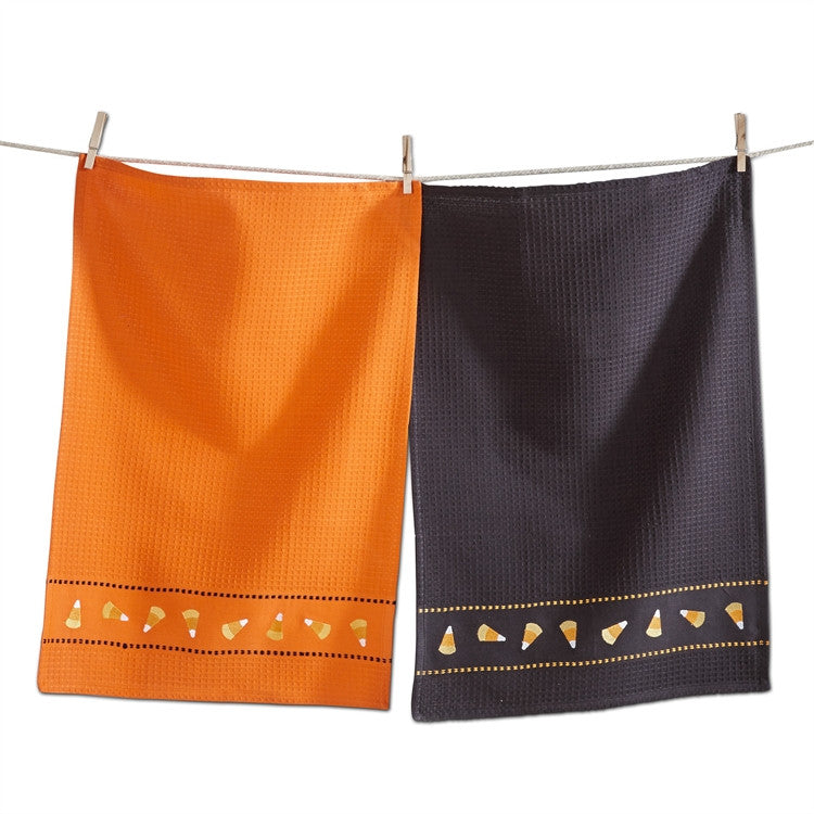 Candy Corn Embroidered Waffle Weave Dishtowels, Set of 2