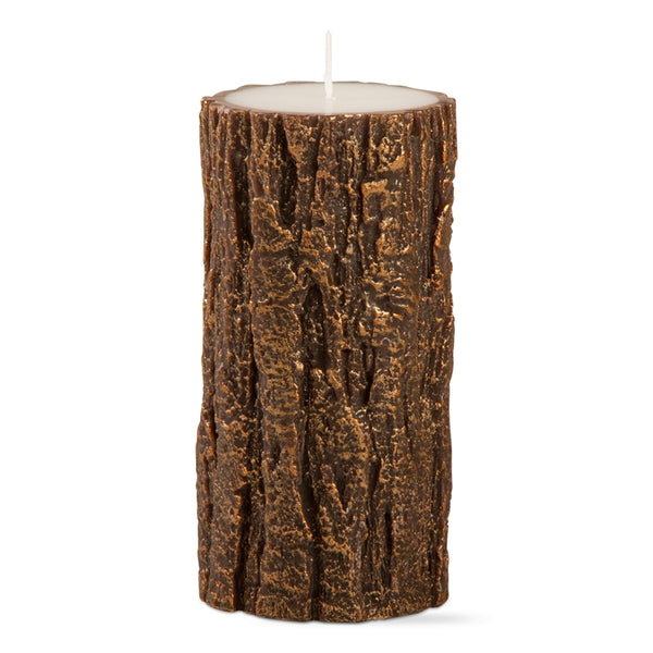 "Gilded Tree Bark Pillar 3"" x 6"" Candle"