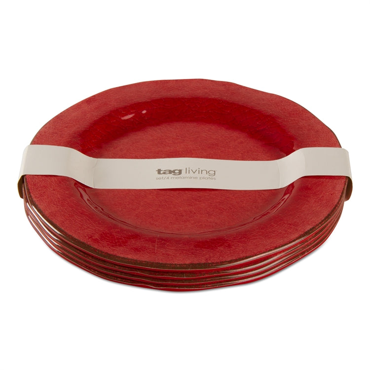 Red Veranda Melamine Dinner Plates, Set of 4