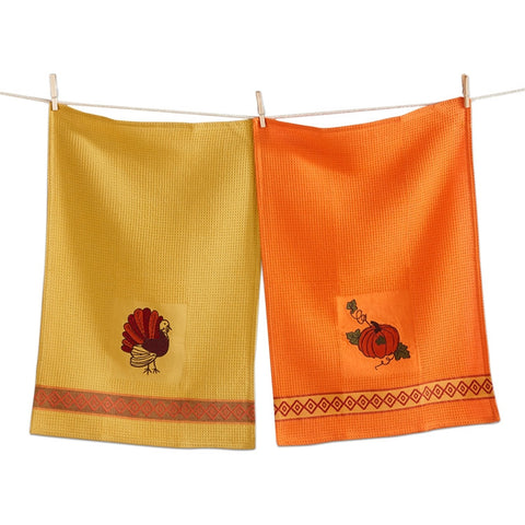 Thanksgiving Embroidered Waffle Weave Dishtowels, Set of 2