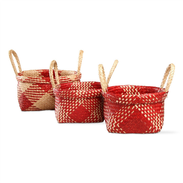 Alden Plaid Baskets, Set of 3