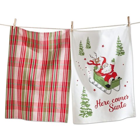 Here Comes Santa Dishtowels, Set of 2