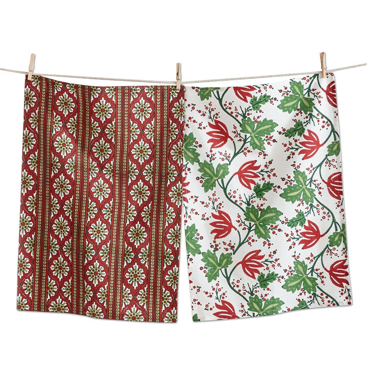 Greenery Block Print Dishtowels, Set of 2