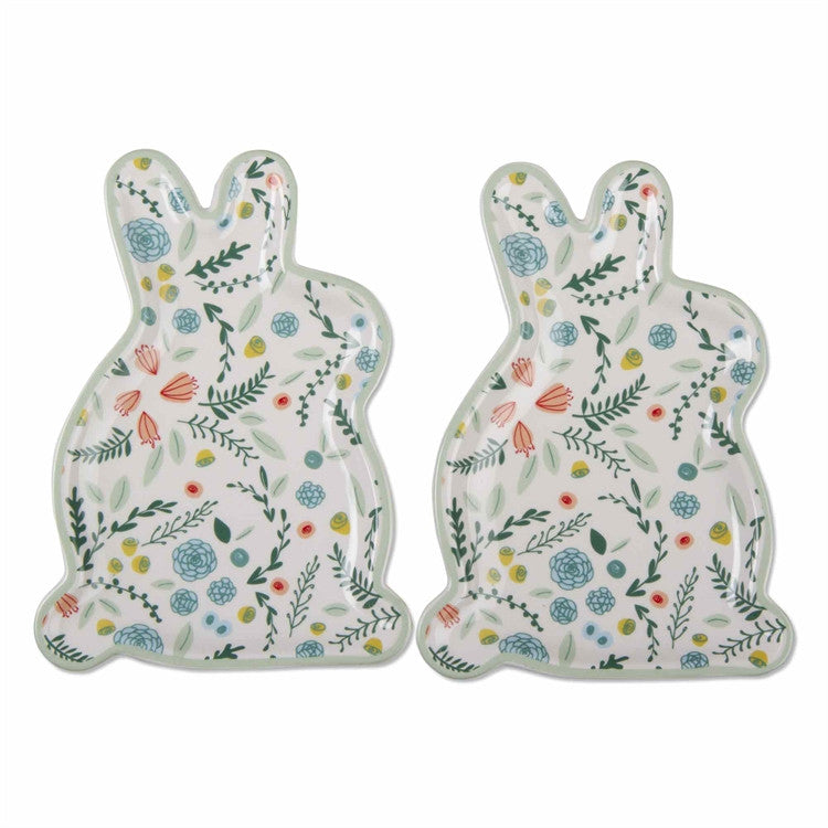 Spring Floral Bunny Plates, Set of 2
