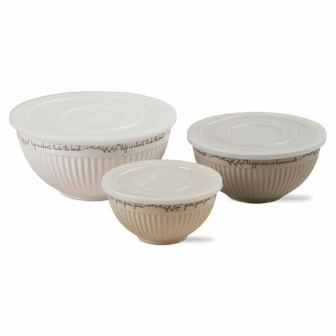 Kitchen Quote Melamine Lidded Bowls, Set of 3, Tan
