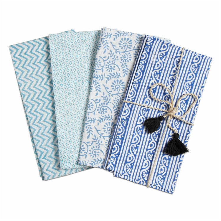 Bali Block Print Napkins, Set of 4, Blue