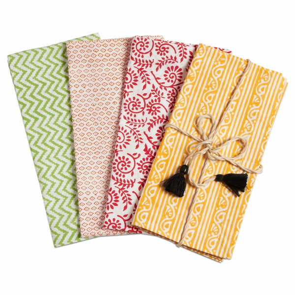 Bali Block Print Napkins, Set of 4, Multi
