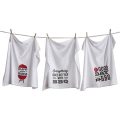 BBQ Flour Sack Dishtowels, Set of 3