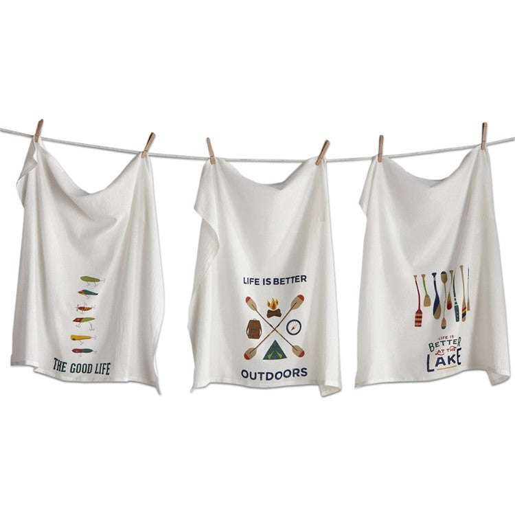 Outdoors Flour Sack Dishtowels, Set of 3