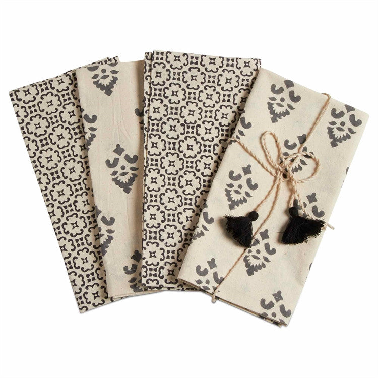 Henna Block Print Napkins, Set of 4
