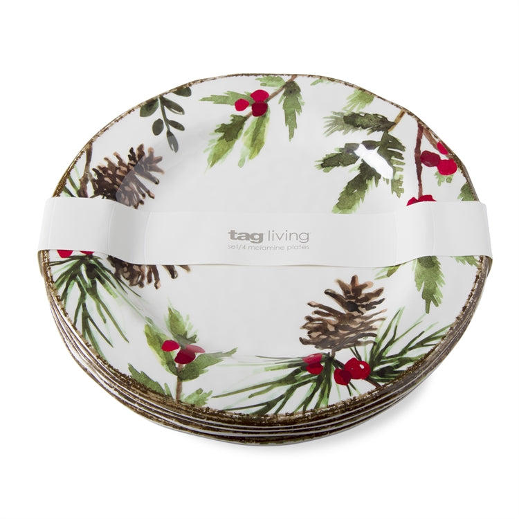 Greenery Melamine Dinner Plates, Set of 4