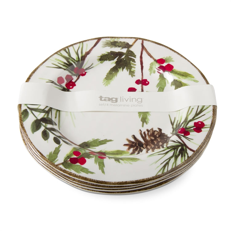 Greenery Melamine Salad Plates, Set of 4