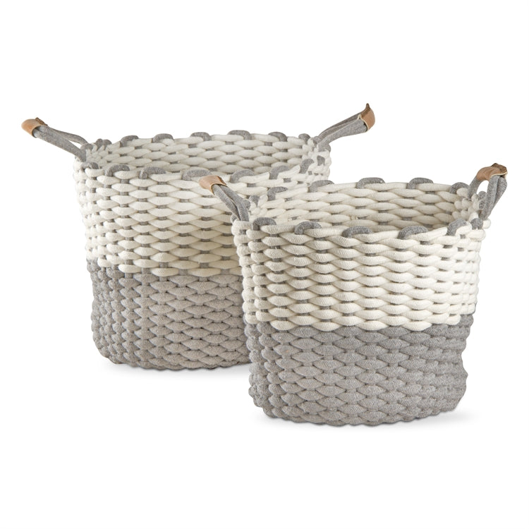 Two Tone Chunky Knit Cord Baskets, Set of 2