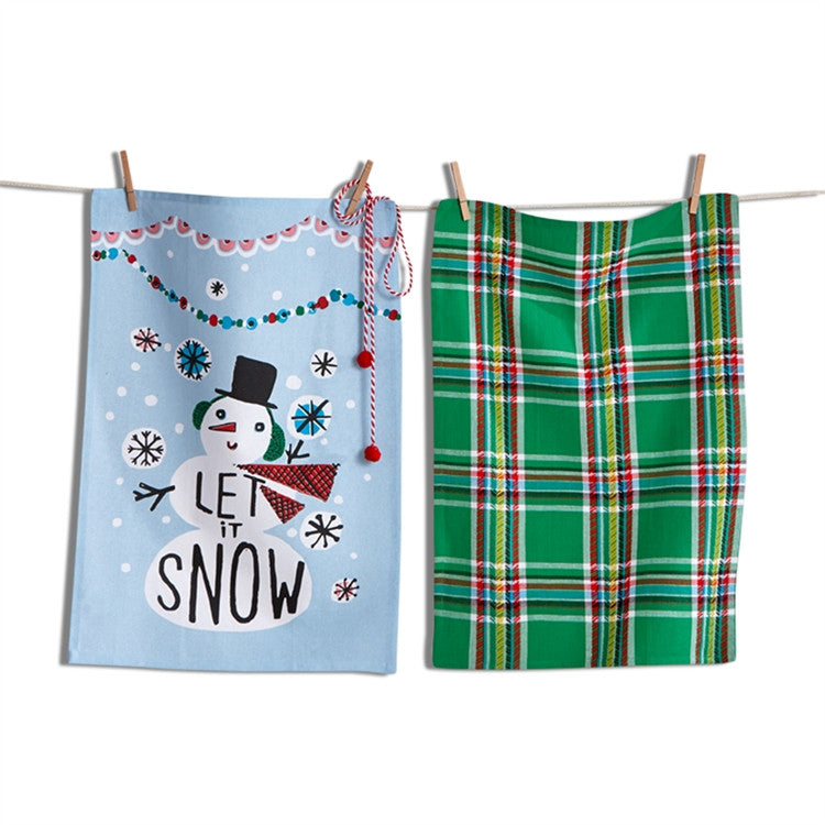 Let It Snowman Dishtowels, Set of 2