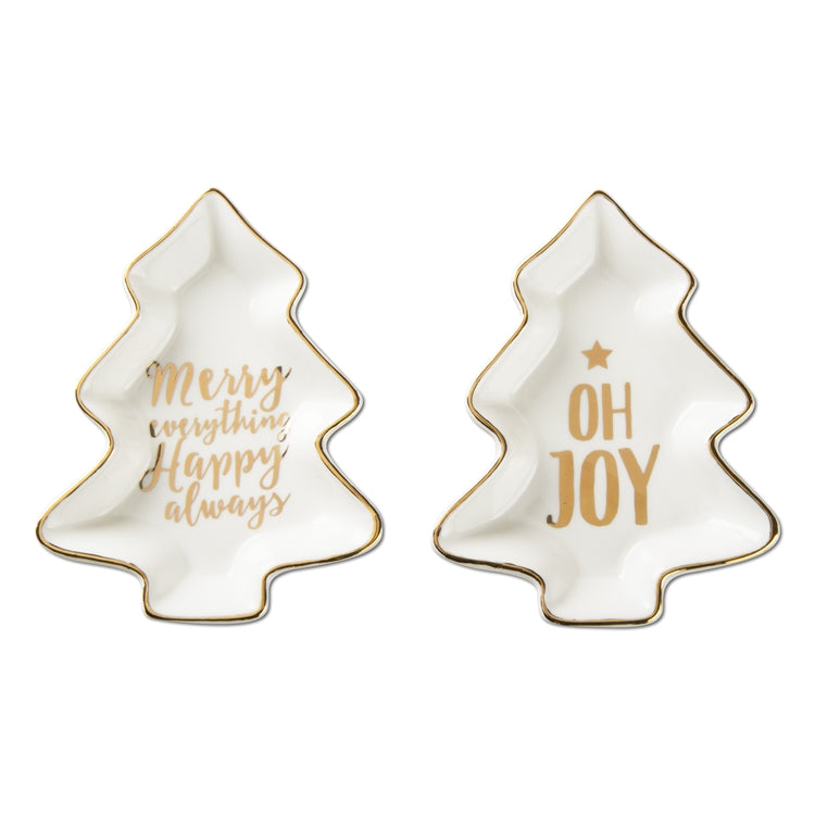 Merry And Joy Tree Plates, Set of 2